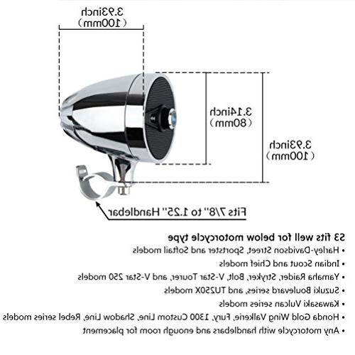 LEXIN S3 3'' Motorcycle Audio with FM Motorcycle Speakers Charger 7/8'' to 1.25'' Handlebar,