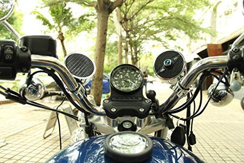 Motorcycle with FM Radio, Motorcycle Speakers with Charger 1.25'' Handlebar, Chorme