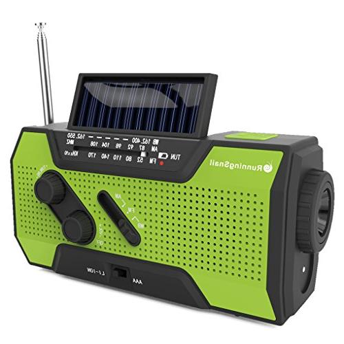 New RunningSnail Solar Crank NOAA Weather Radio For Emergency with 2000mAh Power