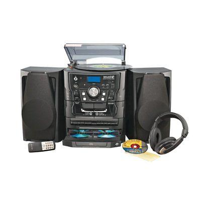 stereo system with turntable and headphones black