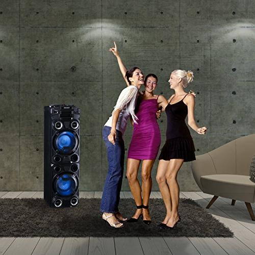 Toshiba Large Bluetooth Trolley Wireless Power Indoor/Outdoor Speaker Disco Flashing 1000W of Peak and USB and SD Port