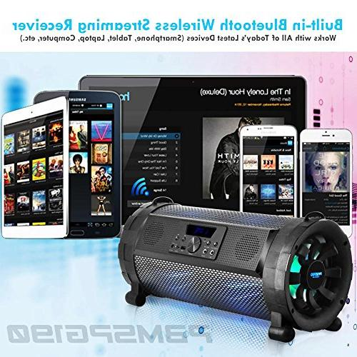 Pyle Bluetooth Blaster Stereo Speaker - Portable Wireless 300 Power FM Radio / MP3 System w/ LED Lights & battery PBMSPG190