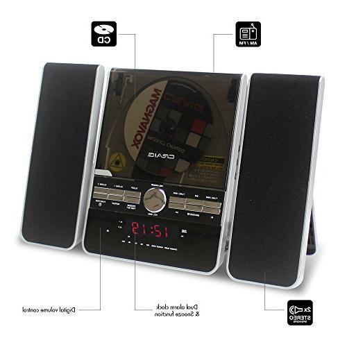 Craig Vertical System with AM/FM Radio Dual Clock, Black