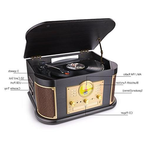 D&L Vintage Player Wooden with Built-in Stereo Speakers, CD/Cassette FM USB/SD Play & for Records