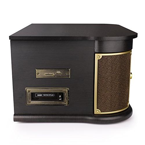 D&L Vintage Record Wooden 7-in-1 with Built-in CD/Cassette FM USB/SD for Vinyl Records