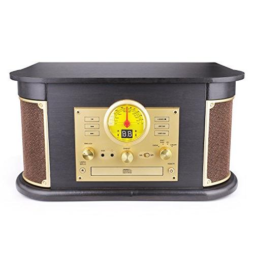 D&L Record Wooden 7-in-1 Bluetooth with Stereo CD/Cassette Player, USB/SD & for