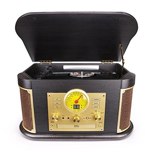 D&L Record Wooden with Stereo CD/Cassette USB/SD Play for Vinyl Records