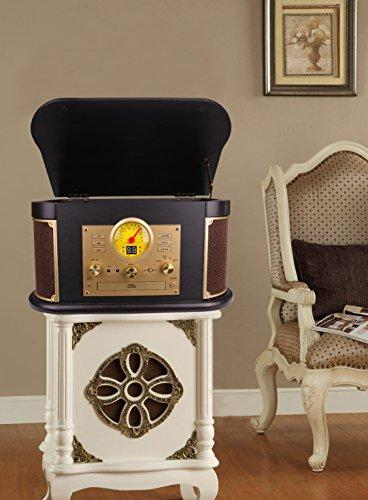 D&L Wooden 7-in-1 Bluetooth Phonograph with Speakers, CD/Cassette Player, FM Radio, USB/SD Encoding,Turntable for Vinyl