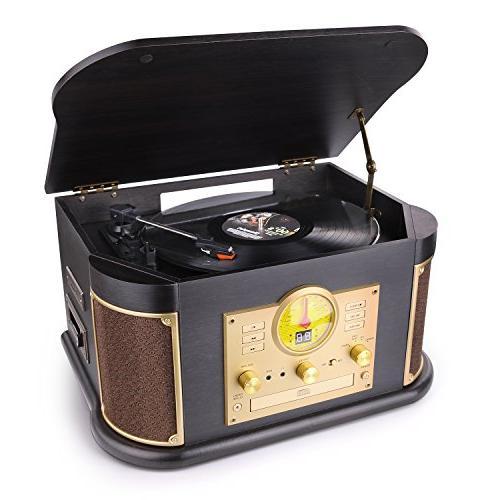 vintage wood 1 bluetooth turntable