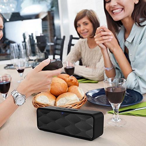 Speaker, Portable Speaker HD and Enhanced Dual Driver Speakerphone, Bluetooth Card Slot Black