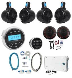 "Rockville Marine Bluetooth Receiver+ 8"" Wakeboards+ LED Spea"