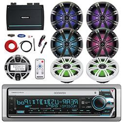 Kenwood Marine CD/MP3/USB/AUX Bluetooth Receiver, Kicker 6.5