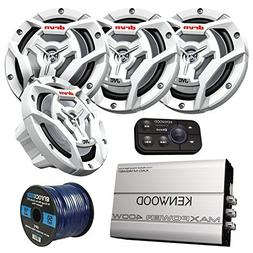 Marine Speaker And Amp Package: 4x JVC CS-DR6201MW 300-Watt
