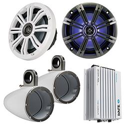 "Marine Speaker Package 2x Kicker KM654LCW 6.5"" LED Light Mar"