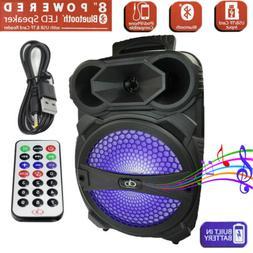 "New 8""BT Party Bluetooth Speaker System Big Led Portable Ste"
