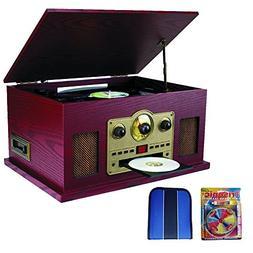 Sylvania Nostalgia 5-in-1 Turntable with CD/Cassette/Radio &