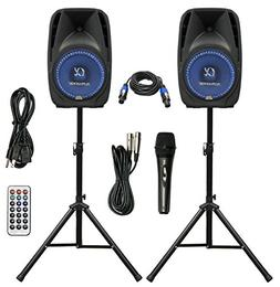 "Pair Alphasonik All-in-one 8"" Powered 800W PRO DJ Amplified"