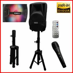 Fisher Portable Bluetooth Stereo PA karaoke Speaker System W