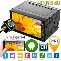 Quad Core 2Din Car Audio Android System Stereo GPS Navi WIFI