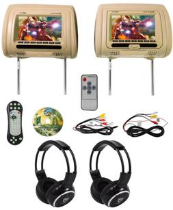 "Rockville RDP711-BG 7"" Beige Car Headrest Monitors w/DVD//"