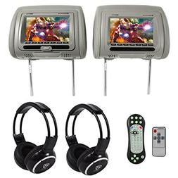 "Rockville RDP711-GR 7"" Grey Car Headrest Monitors w/DVD//H"