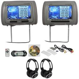 "Rockville RDP931-GR 9"" Grey Car DVD/HDMI Headrest Monitors"