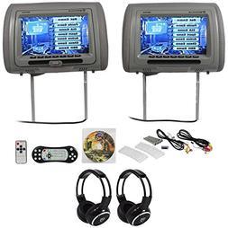 Rockville RDP931-GR 9 Grey Car DVD/HDMI Headrest Monitors+2