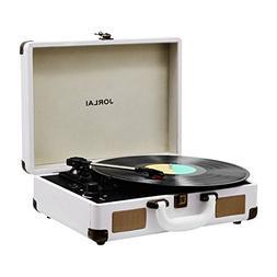 Vinyl Record Player JORLAI Turntable, 3 Speed Bluetooth Reco