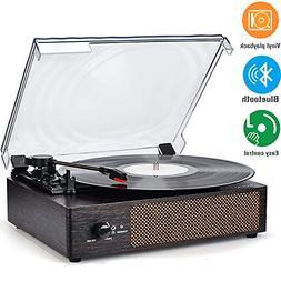 Record Player Portable Bluetooth LP Belt-Drive 3-Speed Turnt