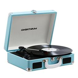 Musitrend Record Player Vinyl Turntable with Speakers, 3 Spe