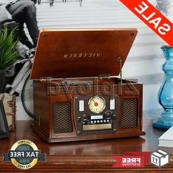 Record Player With Speakers Espresso 6 in 1 Bluetooth Radio