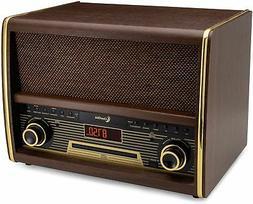 Retro FM Radio w/ CD Player, Bluetooth, & Aux-In Classic Vin
