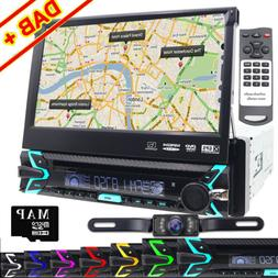 "Single 1DIN 7""HD Flip Out GPS Navigation Car Stereo DVD Play"