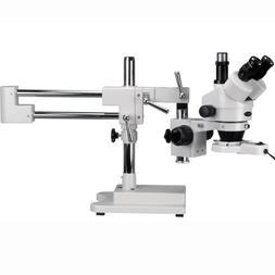 AmScope 7X-90X Trinocular Stereo Boom Zoom Microscope + Ligh