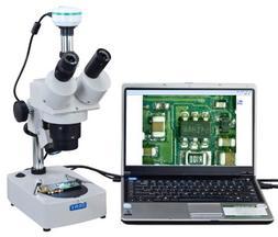 OMAX 10X-20X-30X-60X Digital Trinocular Stereo Microscope wi