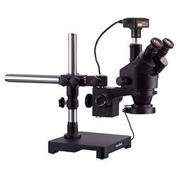 AmScope 3.5X-180X Black Trinocular Stereo Zoom Microscope on