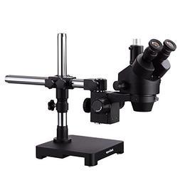 AmScope 7X-90X Black Trinocular Stereo Zoom Microscope on Si