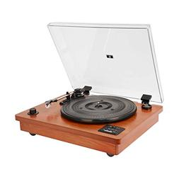HOFEINZ Vintage Style Natural Wood Belt Driven Turntable wit